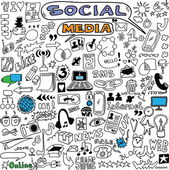 Big set hand drawn illustration of social media sign and symbol doodles elements — Stockfoto