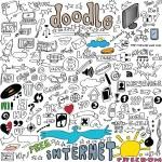 Big set Internet communication doodles isolated on white background,  illustration design elements — Stock Photo #64230591