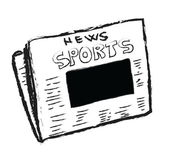 Cartoon sports news with blank photo,  concept empty reportage — Stock Photo