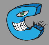 Doodle grunge silly letter c — Stock Photo