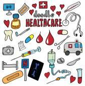 Cartoon health care and medicine icon set — Stock Photo