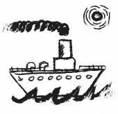 Doodle steamship — Stock Photo