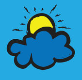Doodle sun and cloud — Стоковое фото