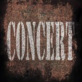 Concert music on old rusty metal plate background — Стоковое фото