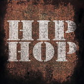 Hip hop music on old rusty metal plate background — Stock Photo