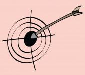 漫画の矢印とターゲット — ストック写真
