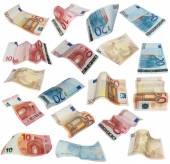 Flying Euro banknotes isolated on white background — Stock Photo