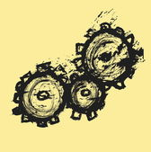 Doodle gears  illustration — Stock Photo