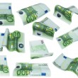 Flying banknote 100 one hundred euro isolated on white background — Stock Photo #73394753