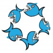 Doodle big fish eating up  smaller, vector illustration — Stock Photo #73805623
