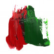 Photo red green grunge brush strokes oil paint isolated on white background — Stock Photo #75562453