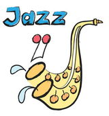 Doodle jazz isolated on white — Stock Photo