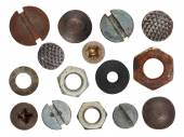 Set macro screw heads, bolts, steel nuts, old metal nail, isolated on white background — Stock Photo