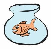 Cartoon color fish and home aquarium — Stock Photo