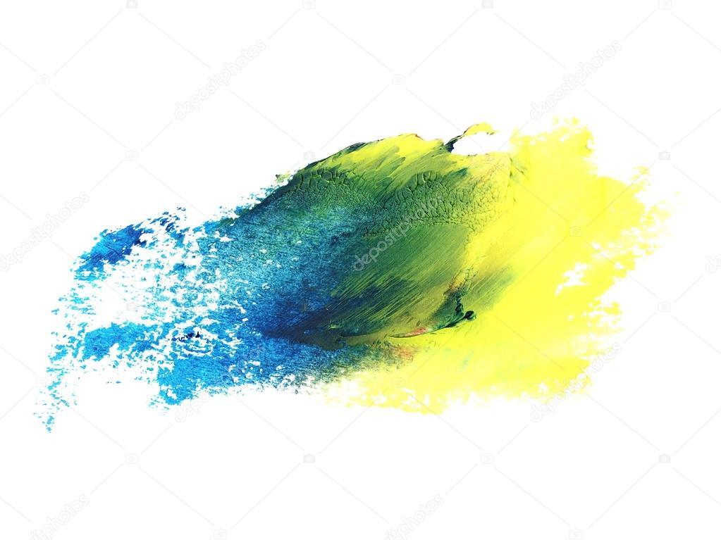 사진 파란색 노란색 그런 지 브러쉬 스트로크 오일 페인트 흰색 ...