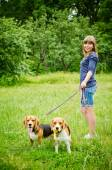 Woman with beagle — Stock Photo