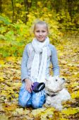 Girl with terrier — Stock Photo