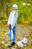 Girl with terrier — Stockfoto