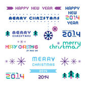 Collection of color Christmas and New Year's elements for design — Stock Vector