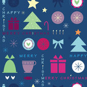 Dark blue Christmas seamless pattern with the text — Stock Vector