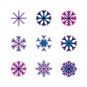 Set from snowflakes in cold tones — Stock Vector
