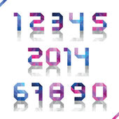 Set of numbers from triangles with reflection in cold tones — Stock Vector