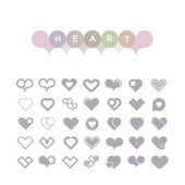 Set of hearts of icons in light tones — Stock Vector
