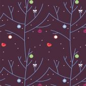 The festive wood during a blizzard a seamless pattern — Stock Vector