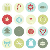 Vintage Christmas motives in a circle for scenery — Stock Vector