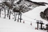 Ski chair lift — Stock Photo