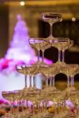 堆香槟玻璃杯 — 图库照片