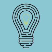 Light bulb conceptual with maze style — Stock Vector