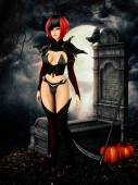 Goth girl in cemetary on halloween night — Stok fotoğraf