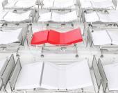 Weiße Krankenhaus Betten - rot Bett stehend heraus — Stockfoto