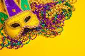 Mardi Gras Mask on yellow Background — Stock Photo