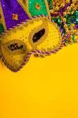 Mardi Gras Mask on yellow Background — Foto de Stock