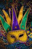 Mardi Gras Masks on dark Background — Stock Photo
