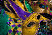 Mardi Gras Masks on dark Background — Stock Photo