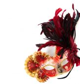 Red mardi gras or venetian mask on a white background — Foto de Stock