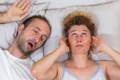 Husband snoring — Stock Photo