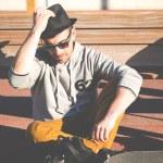Man tying skates — Stock Photo #69313063