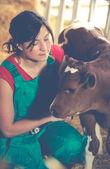 Veterinary on a farm — Stock Photo