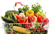 Wire shopping basket with groceries isolated on white — Stockfoto