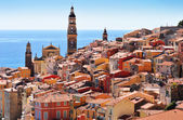 Old town architecture of Menton on French Riviera — Stock Photo