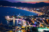 View of Marmaris harbor on Turkish Riviera by night — Stok fotoğraf