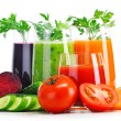 Glasses with fresh vegetable juices isolated on white — Stock Photo #54066009