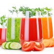 Glasses with fresh vegetable juices isolated on white — Stock Photo #54066027