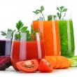Glasses with fresh vegetable juices isolated on white — Stock Photo #54119711