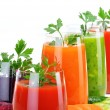 Glasses with fresh vegetable juices isolated on white — Stock Photo #54119765