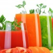 Glasses with fresh vegetable juices isolated on white — Stock Photo #54119815